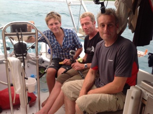 from left to right, Simon Vacher, Dr Rohan Holt and Rich Stevenson relaxing in the cockpit of Jerrican.