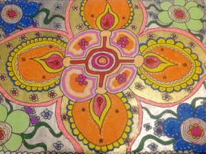 My attempt at a Diwali Rangoli, on paper though!