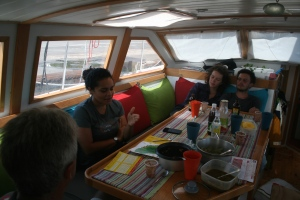 Enjoying lunch on board provided by Aud