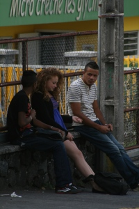 Young people of Reunion waiting for a school bus.